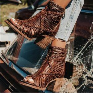 Freebird by Steven Bela Braided Leather Heels 7